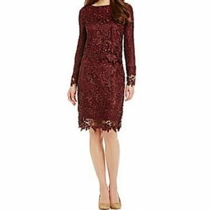 ANTONIO MELANI Maroon Crochet Matching Skirt Set